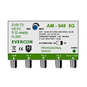 HEVC anténny zosilňovač pre 4 TV Evercon AM-949 5G