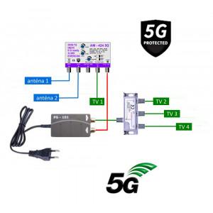 5G READY anténny set EVERCON 20 dB 424-101-4